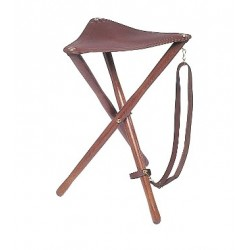 Trépied bois en cuir fleur - hauteur d'assise 65 cm -