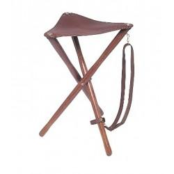 Trépied bois en cuir fleur - hauteur d'assise 75 cm -