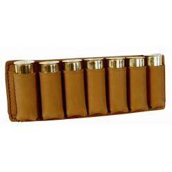 Etui 7 cartouches cuir marron clair calibre 12-16