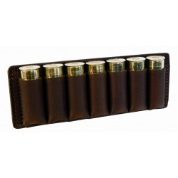 Etui 7 cartouches cuir marron calibre 20